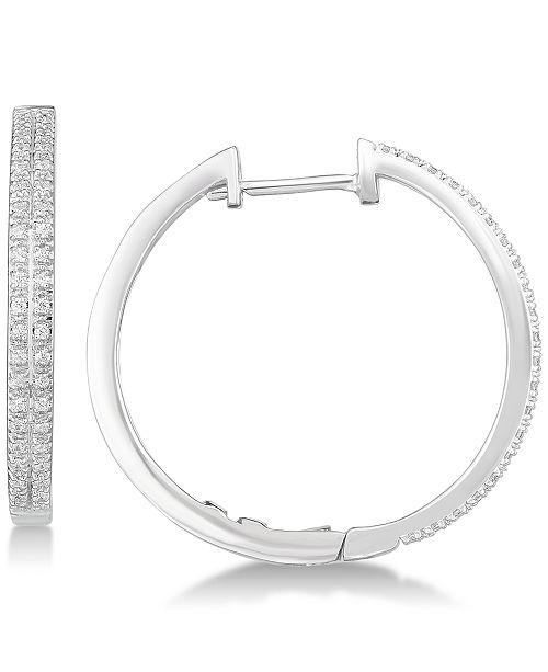 Diamond Hoop Earrings 1 4 Ct T W In Sterling Silver Reviews Main Image