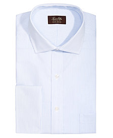 Tasso Elba Men's Classic/Regular Fit Non-Iron Twill Pin Stripe French Cuff Dress Shirt, Created for Macy's