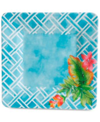 CLOSEOUT! Teal Floral Square Dinner Plate, First at Macy's