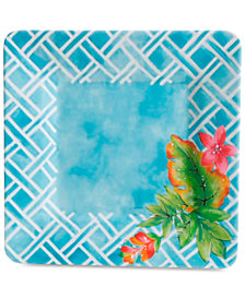 CLOSEOUT! Laurie Gates Teal Floral Square Dinner Plate, First at Macy's