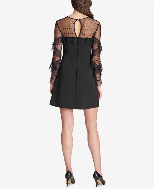 Black Dress Swiss Dot kensie Sweetheart Ruffled w7ATXTq1