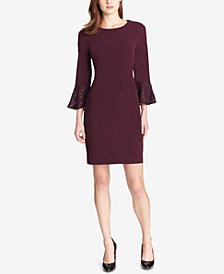 Tommy Hilfiger Lace-Cuff Bell-Sleeve Sheath Dress