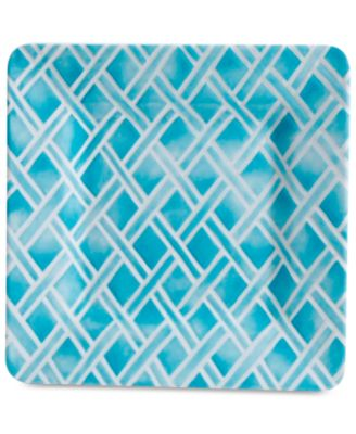 CLOSEOUT! Blue Geo Square Dinner Plate, First at Macy's