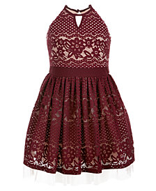 Sequin Hearts Big Girls Lace Halter Dress