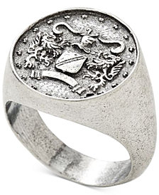 DEGS & SAL Men's Ancient-Look Italian Lire Coin Ring in Sterling Silver