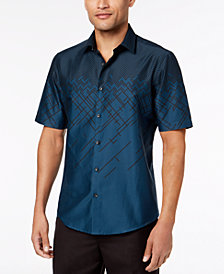 Alfani Men's Ombré Print Short Sleeve Shirt, Created for Macy's