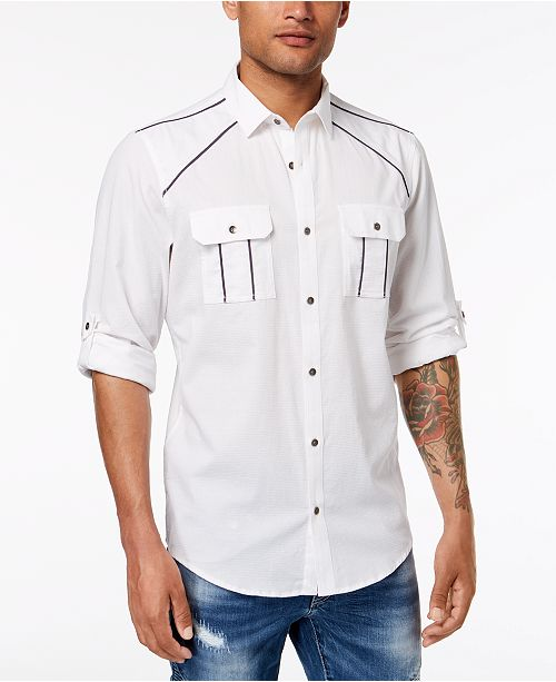 INC International Concepts I.N.C. Men's Piped Shirt, Created for Macy's
