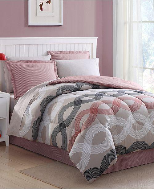 Ellison First Asia Geo Lines 8-Pc. King Comforter Set