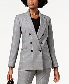 Nine West Double-Breasted Plaid Jacket