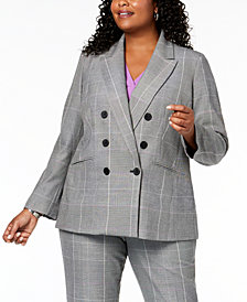 Nine West Plus Size Plaid Double-Breasted Jacket