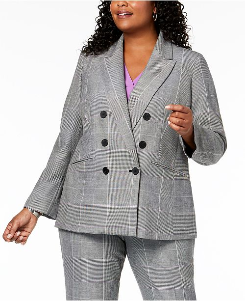 a13fd3c9ca7 Nine West Plus Size Plaid Double-Breasted Jacket & Reviews - Jackets ...