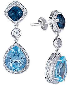 Blue Topaz (5 ct. t.w.) & White Topaz (3/4 ct. t.w.) Drop Earrings in Sterling Silver