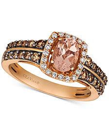 Le Vian® Peach Morganite™ (1/2 ct. t.w.) & Diamond (5/8 ct. t.w.) Ring in 14k Rose Gold