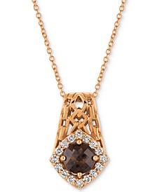 """Chocolate Quartz® (5/8 ct. t.w.) & Diamond (1/4 ct. t.w.) 18"""" Pendant Necklace in 14k Rose Gold"""