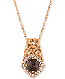 "Le Vian® Chocolate Quartz® (5/8 ct. t.w.) & Diamond (1/4 ct. t.w.) 18"" Pendant Necklace in 14k Rose Gold"