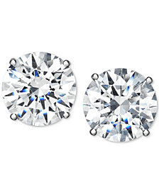 Arabella Swarovski Zirconia Stud Earrings in 14K White Gold