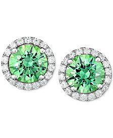 Green Swarovski Zirconia Halo Stud Earrings in Sterling Silver