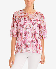 NY Collection Ruffled Mesh Top
