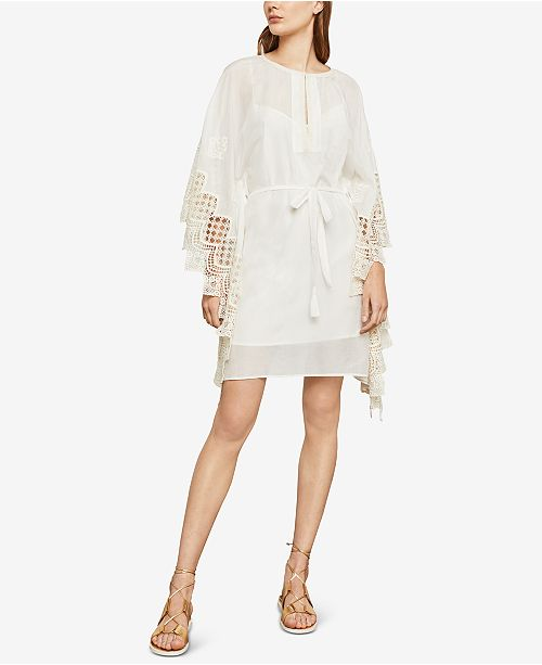 Dress Shift CO Embroidered Crochet Contrast BCBGMAXAZRIA WHITE UvIZFgx