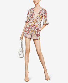 BCBGMAXAZRIA Ivy Grand Plunging Paisley-Print Romper