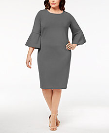 Calvin Klein Plus Size Bell-Sleeve Sheath Dress