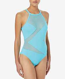 MICHAEL Michael Kors High-Neck Illusion One-Piece Swimsuit