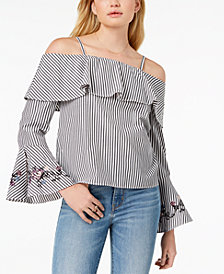 BCX Juniors' Embroidered Flounce Top