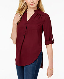 BCX Juniors' Split-Neck Roll-Tab-Sleeve Shirt