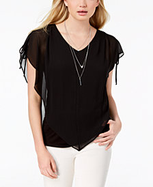 BCX Juniors' Split-Sleeve Necklace Top