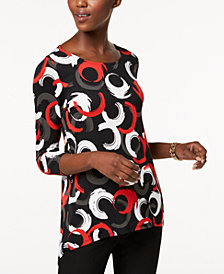 Alfani Petite High-Low Printed Top, Created for Macy's