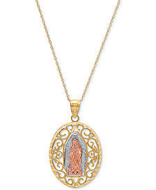 "Tricolor Our Lady of Guadalupe 18"" Pendant Necklace in 14k Gold, Rose Gold & Rhodium-Plate"