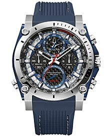 Men's Chronograph Precisionist Blue Rubber Strap Watch 46.5mm