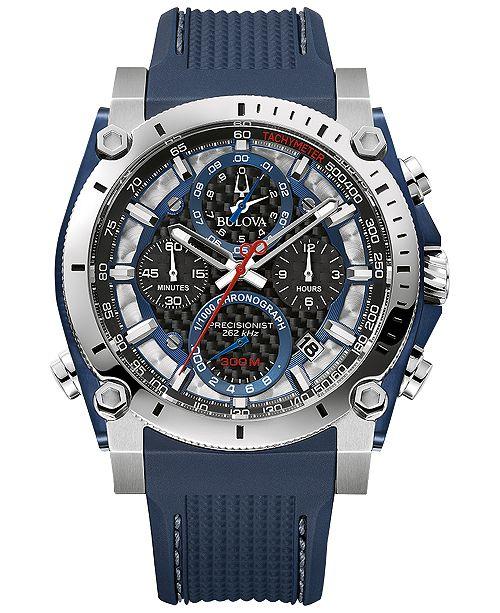 4b762111c ... Bulova Men's Chronograph Precisionist Blue Rubber Strap Watch 46.5 ...