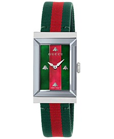 Women's Swiss G-Frame Green-Red-Green Nylon Strap Watch 21x34mm