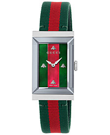 Gucci Women's Swiss G-Frame Green-Red-Green Nylon Strap Watch 21x34mm