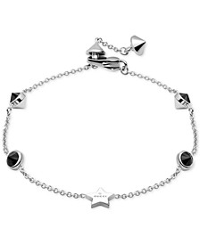 Black Spinel Station Bracelet in Sterling Silver