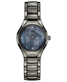 Rado Women's Swiss Automatic True Star Leo Sign Diamond-Accent Plasma High-Tech Ceramic Bracelet Watch 30mm