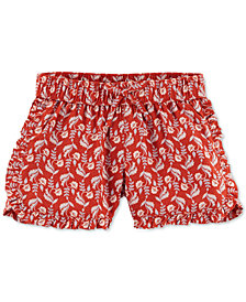Carter's Little Girls' Burgundy Floral-Print Shorts