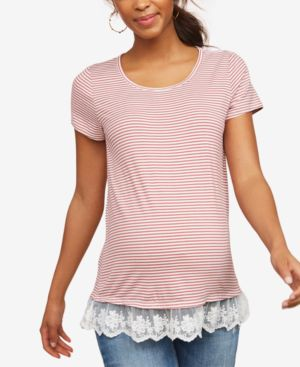 COLLECTIVE CONCEPTS Maternity Lace-Trim Jersey T-Shirt in Red White Stripe