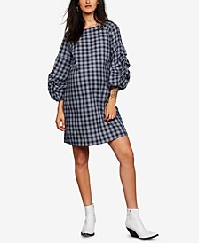 Maternity Plaid Bell-Sleeve Dress