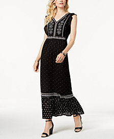 Style & Co Embroidered Printed Maxi Dress, Created for Macy's
