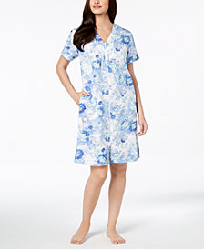 Miss Elaine Floral-Print Cotton Robe