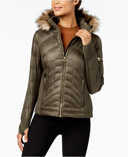 06ce30833dc Michael Kors Mixed-Media Hooded Puffer Coat   Reviews - Coats ...