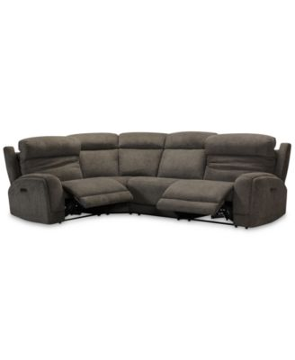 Winterton 4-Pc. Fabric Sectional Sofa With 2 Power Recliners, Power Headrests, Lumbar And USB Power Outlet