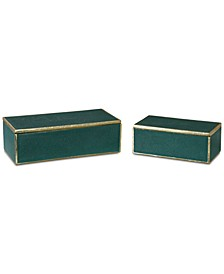 Set of 2 Karis Emerald Green Boxes