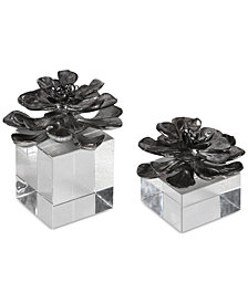 Uttermost Indian Lotus Metallic Silver Flowers, Set of 2