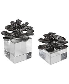 Uttermost Indian Lotus Metallic Silver Flowers, Set of 2
