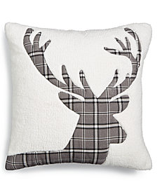 "Martha Stewart Collection Plaid Stag Fleece 18"" Square Decorative Pillow, Created for Macy's"