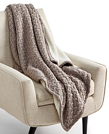 """Martha Stewart Collection Sweaterknit Lattice Reversible 50"""" x 60"""" Faux-Fur Throw, Created for Macy's"""