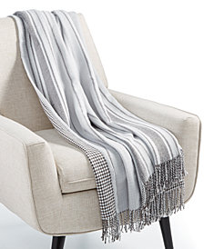 "Martha Stewart Collection Oversized Reversible Herringbone 60"" x 80"" Throw, Created for Macy's"